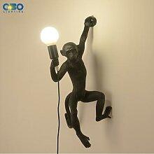 Lampe murale en résine avec singe E27 LED,