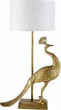 Lampe paon en aluminium recyclé doré et