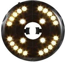 Lampe parapluie à 24 LED avec crochet et
