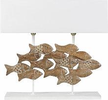 Lampe poissons en manguier sculpté et abat-jour