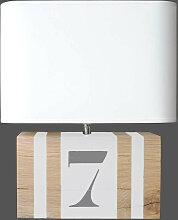 Lampe rectangulaire blanche en bois