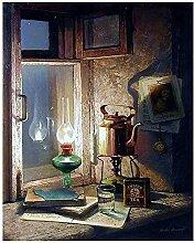 Lampe rétro peinture par numéro toile bricolage