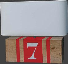 Lampe rouge en bois L34 personnalisable