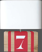 Lampe rouge en chêne rectangle