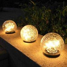 Lampe solaire Led en forme de boule de verre