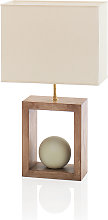 Lampe Stonoo bois naturel blanchi-boule céramique