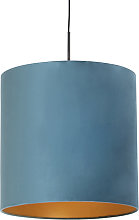 Lampe suspendue avec abat-jour en velours bleu