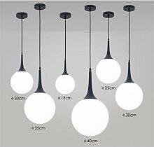Lampe suspendue en forme de boule de verre blanche
