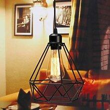 Lampe suspendue en métal au design cage,