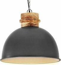 Lampe suspendue industrielle Gris Rond 50 cm E27