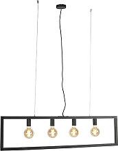 Lampe suspendue moderne noire 4 lumières - Simple