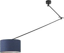 Lampe suspendue noir avec abat-jour 35 cm bleu