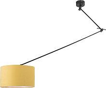 Lampe suspendue noir avec abat-jour 35 cm jaune