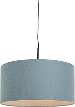 Lampe suspendue noir avec abat-jour bleu 50 cm -