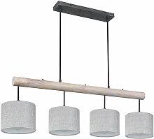 Lampe suspendue plafond salon lampe bois textile