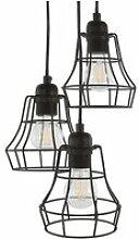 Lampe suspension 3 abat-jours noirs pecwan 124264