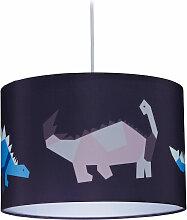 Lampe suspension Dino, abat-jour rond, motif
