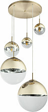 Lampe suspension plafond boule de verre salon