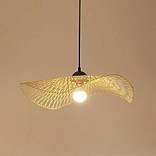 Lampe Suspension Rétro En Bambou Rotin Lustre