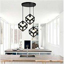 Lampe Suspensions Plafonnier Cube E27 Noir, Lustre