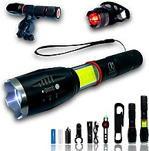 Lampe Torche LED Batterie Rechargeable + Feu