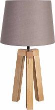 Lampe trépied bois abat-jour taupe