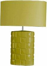 Lampe verte à poser en céramique Abat-jour tissu