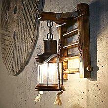 Lampes Rétro En Bois Rustique Salon Applique