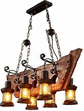 Lampes Suspendues En Bois Industriel Rétro Bateau