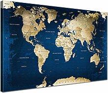LanaKK Ocean Carte du Monde sur Toile imprimée et