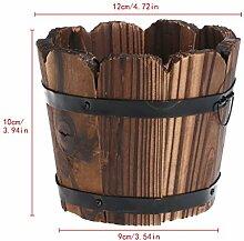 LANDUM Pot de fleurs rétro rond en bois pour