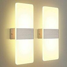 LangRay 2 Pack Applique Murale LED Intérieure 12W