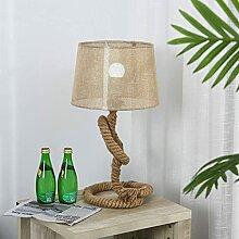 LANMOU E27 Lampe de Table Corde de Chanvre avec