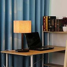 LANMOU Lampe de Chevet en Bois LED avec Chargeur