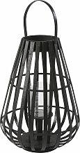 Lanterne en bambou noir et verre H55