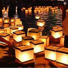 Lanterne en papier flottant eau lanterne carrée