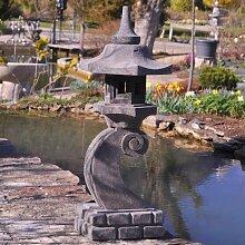 Lanterne japonaise en pierre de lave 90 cm lampe