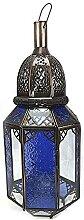 Lanterne marocaine en verre et métal ajouré à