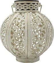 Lanterne solaire style oriental acier blanc H18cm