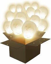 Lanterne Volante Balloon Blanc x100 - Blanc