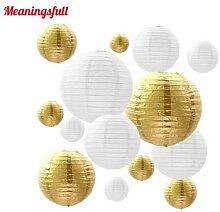 Lanternes en papier blanc et or, taille mixte