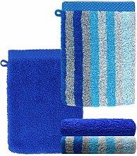 Lashuma Ensemble de 4 gants de toilette, bleu, 15