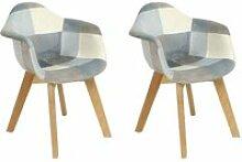 Latefa - lot de 2 fauteuils enfant bleus motif