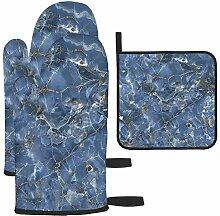 LAVYINGY Lot de 3 gants de cuisine en onyx bleu