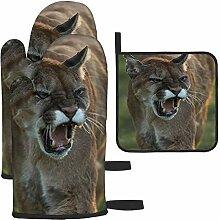 LAVYINGY Mountain Lion Lot de 3 gants de cuisine