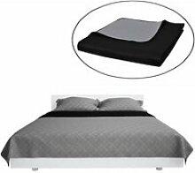 LAY-Couvre-lits à double côtés Noir/Gris 170 x