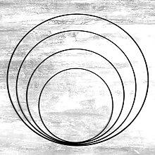 Lealoo Lot 4 Grands Cercles métal Noir Ø 30 cm
