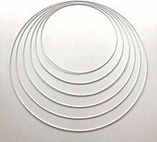 Lealoo Lot 6 Grands Cercles métal Blanc Ø 35 cm