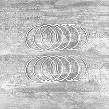 Lealoo Lot de 10 Cercles métalliques Blanc Ø 10