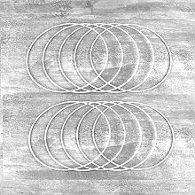 Lealoo Lot de 10 Cercles métalliques Blanc Ø 15